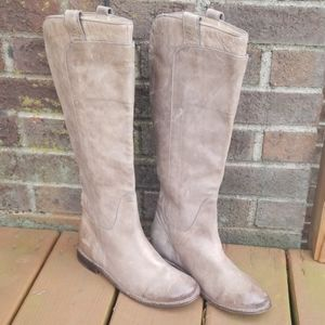 """Frye """" paige"""" grey leather tall riding boots-7"""